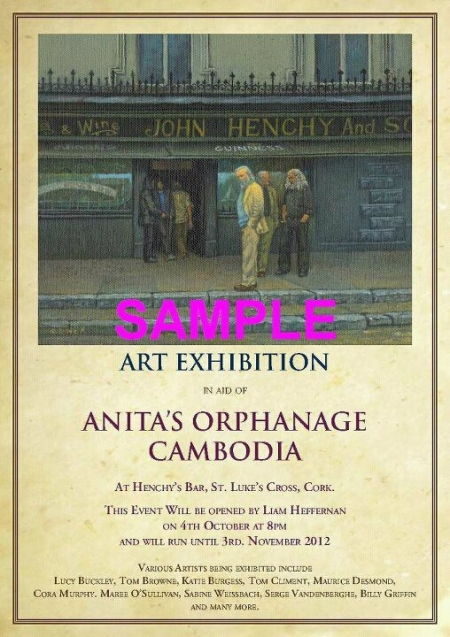 Henchy's Annual charity art auction/exhibition in aid of Anitas Orphanage Cambodia